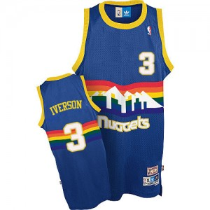 Denver Nuggets Allen Iverson #3 Throwback Authentic Maillot d'équipe de NBA - Bleu clair pour Homme