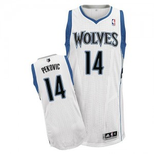 Minnesota Timberwolves #14 Adidas Home Blanc Authentic Maillot d'équipe de NBA prix d'usine en ligne - Nikola Pekovic pour Homme