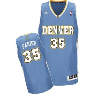 Maillot NBA Denver Nuggets #35 Kenneth Faried Bleu clair Adidas Swingman Road - Homme