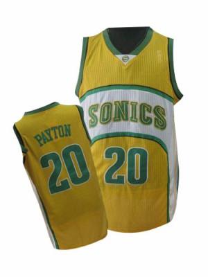 Oklahoma City Thunder Gary Payton #20 Throwback SuperSonics Authentic Maillot d'équipe de NBA - Jaune pour Homme
