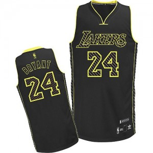 Maillot Adidas Noir Electricity Fashion Authentic Los Angeles Lakers - Kobe Bryant #24 - Homme