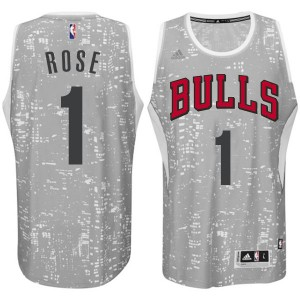 Maillot NBA Gris Derrick Rose #1 Chicago Bulls City Light Authentic Homme Adidas