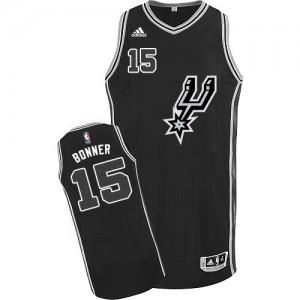 Maillot NBA Noir Matt Bonner #15 San Antonio Spurs New Road Swingman Homme Adidas