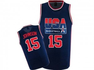 Team USA #15 Nike 2012 Olympic Retro Bleu marin Authentic Maillot d'équipe de NBA magasin d'usine - Magic Johnson pour Homme