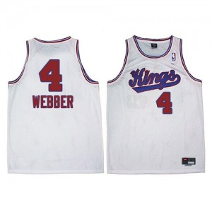 Maillot NBA Authentic Chris Webber #4 Sacramento Kings New Throwback Blanc - Homme