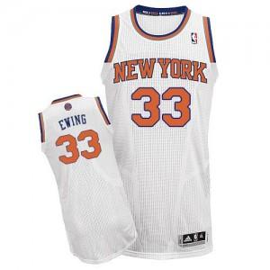 New York Knicks #33 Adidas Home Blanc Authentic Maillot d'équipe de NBA pas cher - Patrick Ewing pour Homme