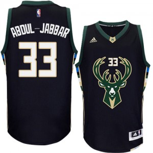 Maillot NBA Milwaukee Bucks #33 Kareem Abdul-Jabbar Noir Adidas Authentic Alternate - Homme
