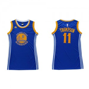 Maillot NBA Golden State Warriors #11 Klay Thompson Bleu Adidas Swingman Dress - Femme