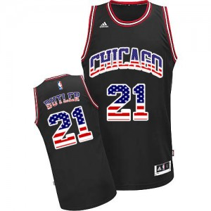 Maillot Authentic Chicago Bulls NBA USA Flag Fashion Noir - #21 Jimmy Butler - Homme