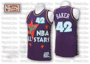 Maillot NBA Violet Vin Baker #42 Milwaukee Bucks Throwback 1995 All Star Authentic Homme Adidas