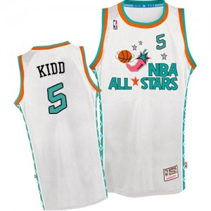 Maillot Authentic Dallas Mavericks NBA Throwback 1996 All Star Blanc - #5 Jason Kidd - Homme