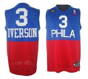 Philadelphia 76ers #3 10TH Throwback Rouge Bleu Authentic Maillot d'équipe de NBA Expédition rapide - Allen Iverson pour Homme