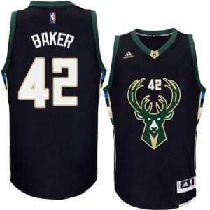 Maillot NBA Noir Vin Baker #42 Milwaukee Bucks Alternate Authentic Homme Adidas
