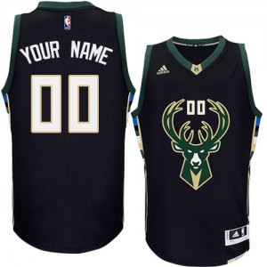 Maillot Adidas Noir Alternate Milwaukee Bucks - Authentic Personnalisé - Enfants