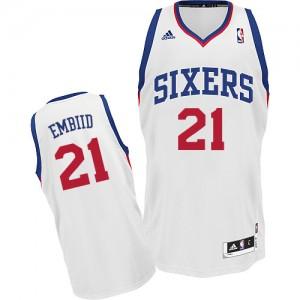 Philadelphia 76ers Joel Embiid #21 Home Swingman Maillot d'équipe de NBA - Blanc pour Homme