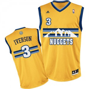 Denver Nuggets Allen Iverson #3 Alternate Swingman Maillot d'équipe de NBA - Or pour Homme