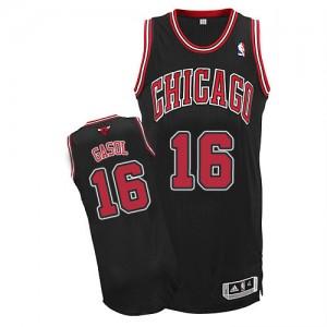Chicago Bulls #16 Adidas Alternate Noir Authentic Maillot d'équipe de NBA magasin d'usine - Pau Gasol pour Enfants