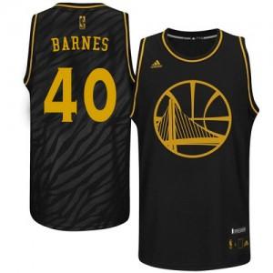 Maillot NBA Golden State Warriors #40 Harrison Barnes Noir Adidas Swingman Precious Metals Fashion - Homme
