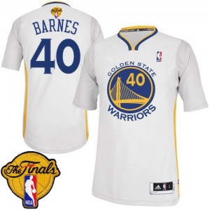 Maillot NBA Golden State Warriors #40 Harrison Barnes Blanc Adidas Authentic Alternate 2015 The Finals Patch - Homme
