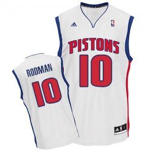 Maillot NBA Blanc Dennis Rodman #10 Detroit Pistons Home Swingman Homme Adidas