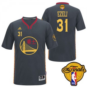 Maillot NBA Authentic Festus Ezeli #31 Golden State Warriors Slate Chinese New Year 2015 The Finals Patch Noir - Homme