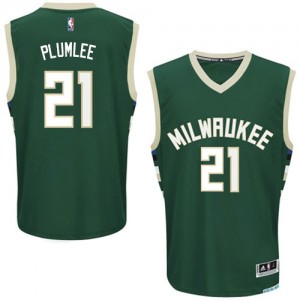 Maillot NBA Milwaukee Bucks #21 Miles Plumlee Vert Adidas Authentic Road - Homme