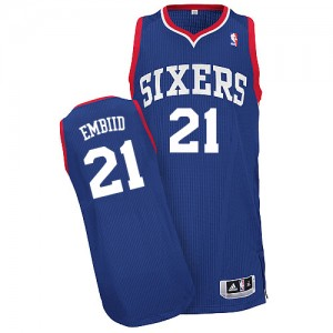 Maillot Adidas Bleu royal Alternate Authentic Philadelphia 76ers - Joel Embiid #21 - Homme