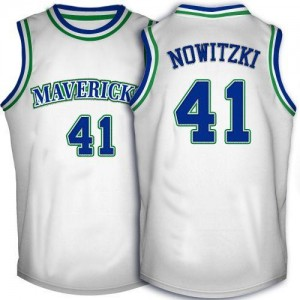Dallas Mavericks #41 Adidas Throwback Blanc Swingman Maillot d'équipe de NBA boutique en ligne - Dirk Nowitzki pour Homme