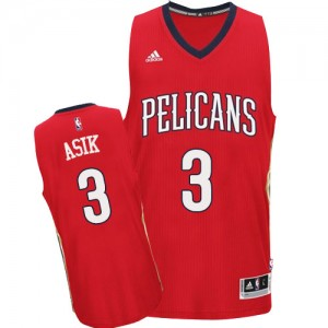 Maillot Adidas Rouge Alternate Authentic New Orleans Pelicans - Omer Asik #3 - Homme