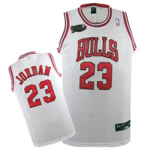 Maillot NBA Chicago Bulls #23 Michael Jordan Blanc Nike Authentic Throwback Champions Patch - Homme