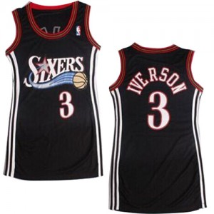 Philadelphia 76ers #3 Adidas Dress Noir Authentic Maillot d'équipe de NBA pas cher - Allen Iverson pour Femme