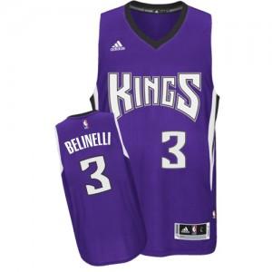 Maillot NBA Sacramento Kings #3 Marco Belinelli Violet Adidas Swingman Road - Homme