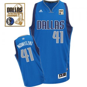 Dallas Mavericks #41 Adidas Road Champions Patch Bleu royal Swingman Maillot d'équipe de NBA pas cher - Dirk Nowitzki pour Homme