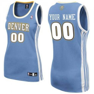 Maillot NBA Bleu clair Authentic Personnalisé Denver Nuggets Road Femme Adidas
