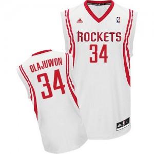 Houston Rockets Hakeem Olajuwon #34 Home Swingman Maillot d'équipe de NBA - Blanc pour Homme
