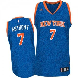 Maillot NBA New York Knicks #7 Carmelo Anthony Bleu Adidas Authentic Crazy Light - Homme