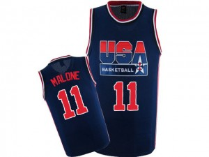 Maillot Nike Bleu marin 2012 Olympic Retro Authentic Team USA - Karl Malone #11 - Homme