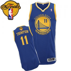 Maillot NBA Authentic Klay Thompson #11 Golden State Warriors Road 2015 The Finals Patch Bleu royal - Femme