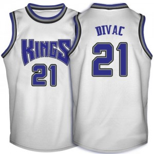 Maillot NBA Blanc Vlade Divac #21 Sacramento Kings Throwback Authentic Homme Adidas