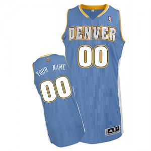 Maillot NBA Bleu clair Authentic Personnalisé Denver Nuggets Road Homme Adidas