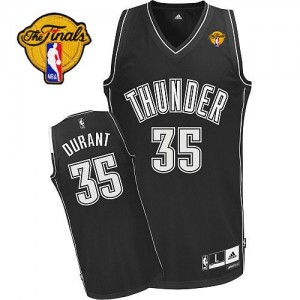 Maillot NBA Authentic Kevin Durant #35 Oklahoma City Thunder Finals Patch Noir Blanc - Homme