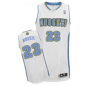 Maillot NBA Denver Nuggets #23 Jusuf Nurkic Blanc Adidas Authentic Home - Homme