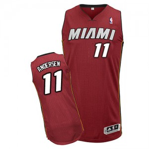 Maillot NBA Rouge Chris Andersen #11 Miami Heat Alternate Authentic Homme Adidas