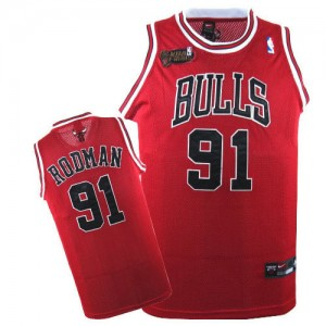 Maillot NBA Chicago Bulls #91 Dennis Rodman Rouge Nike Authentic Champions Patch - Homme