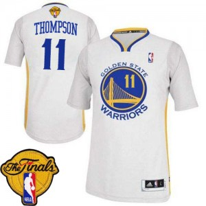 Maillot NBA Authentic Klay Thompson #11 Golden State Warriors Alternate 2015 The Finals Patch Blanc - Femme