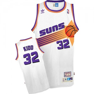 Maillot NBA Blanc Jason Kidd #32 Phoenix Suns Throwback Authentic Homme Adidas