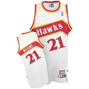 Atlanta Hawks #21 Adidas Throwback Blanc Authentic Maillot d'équipe de NBA préférentiel - Dominique Wilkins pour Homme