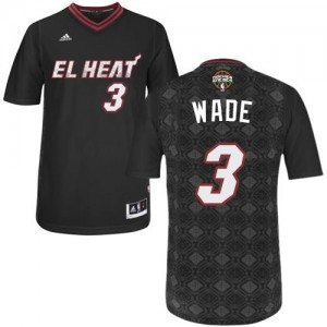 Maillot Adidas Noir New Latin Nights Authentic Miami Heat - Dwyane Wade #3 - Homme