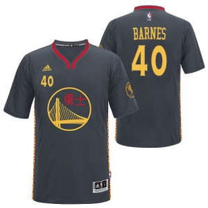 Maillot NBA Golden State Warriors #40 Harrison Barnes Noir Adidas Authentic Slate Chinese New Year - Homme