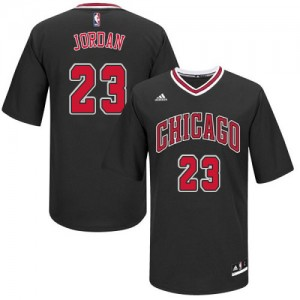 Maillot Adidas Noir Short Sleeve Authentic Chicago Bulls - Michael Jordan #23 - Homme